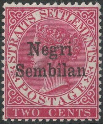 Negri Sembilan 1891 QV 2c Bright Rose MUH