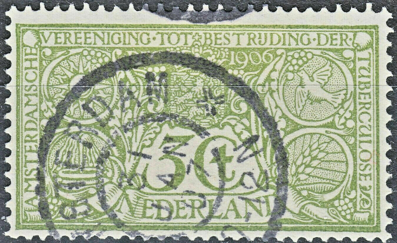 Netherlands 1906 3c+3c Green Tuberculosis Society FU