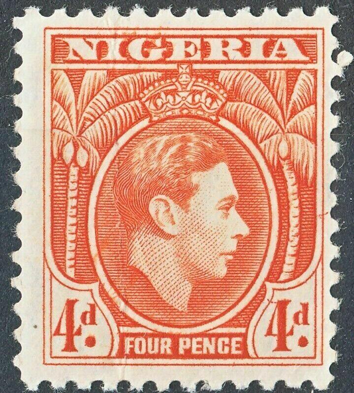 Nigeria 1938 KGVI 4d Orange MH Spacefiller