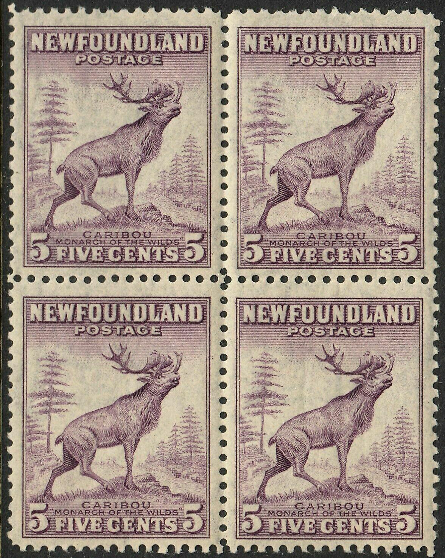 Newfoundland 1932 KGV 5c Caribou Block of 4 MUH