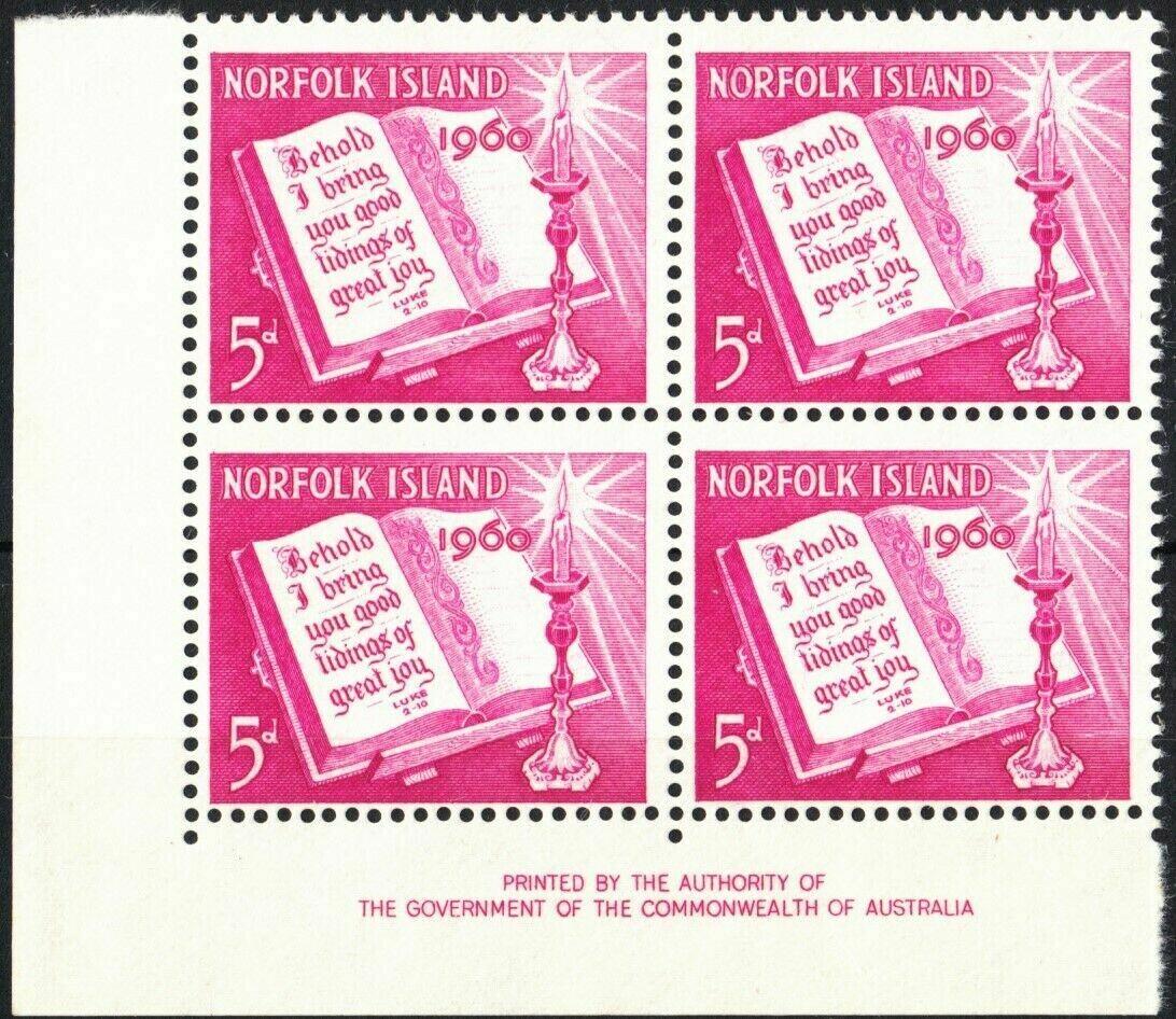 Norfolk Island 1960 QEII 5d Christmas Imprint Block of 4 MUH
