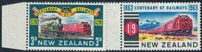 New Zealand 1963 QEII Railway Centenary Set Marginal MUH