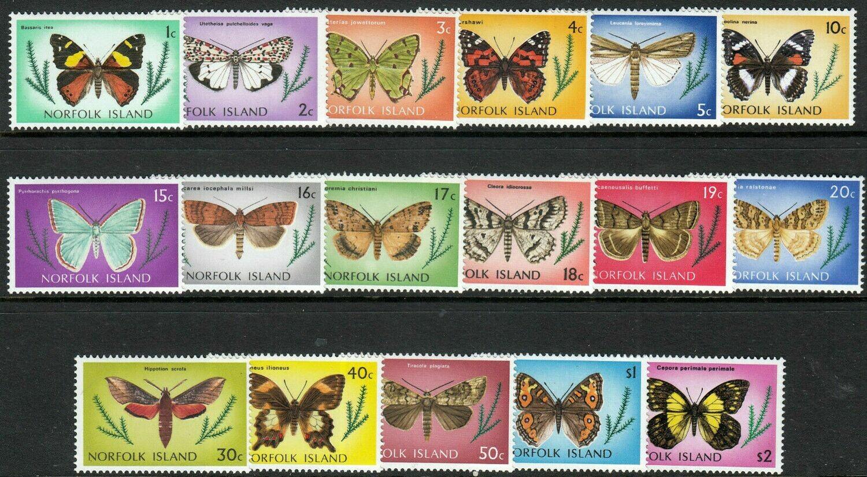 Norfolk Island 1976-7 QEII Butterflies Set of 17 MUH