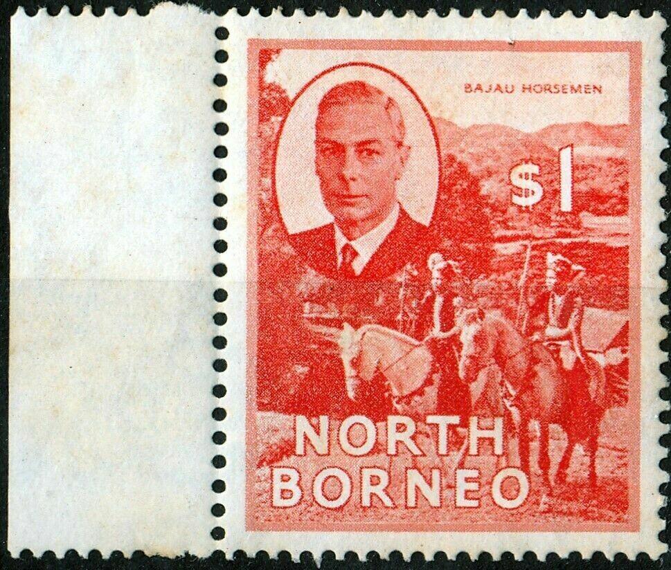 North Borneo 1950 KGVI $1 Red-Orange Marginal MUH