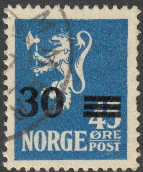 Norway 1927 30ore on 45ore Blue VFU