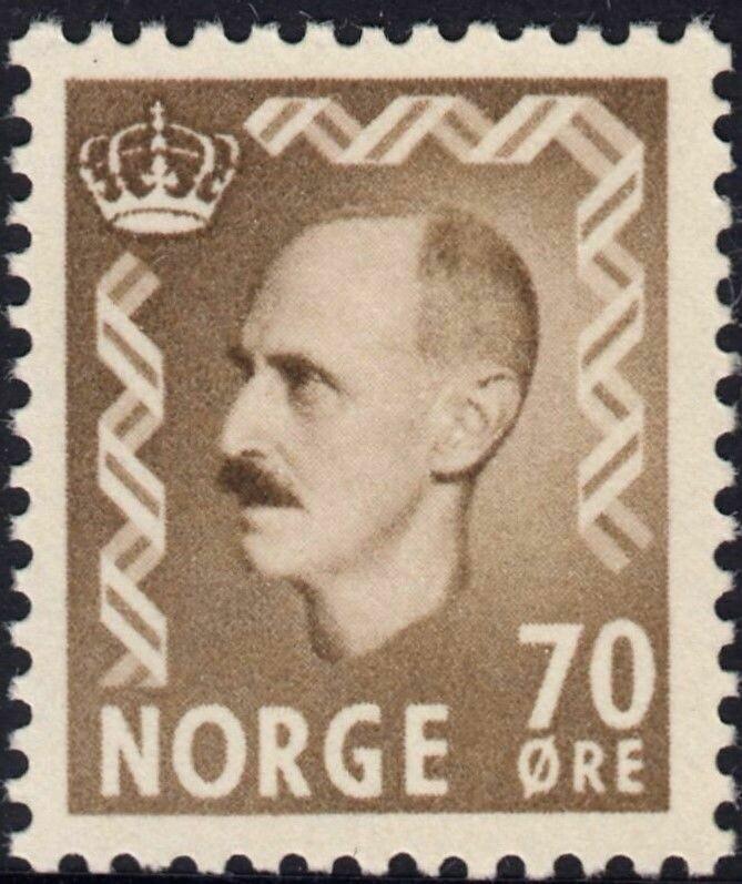 Norway 1950 70ore Brown King Haakon VII MUH