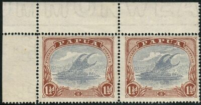 Papua 1925 KGV 1½d Pale Grey-Blue & Brown Pair with POSTACE and Rift Flaws MUH