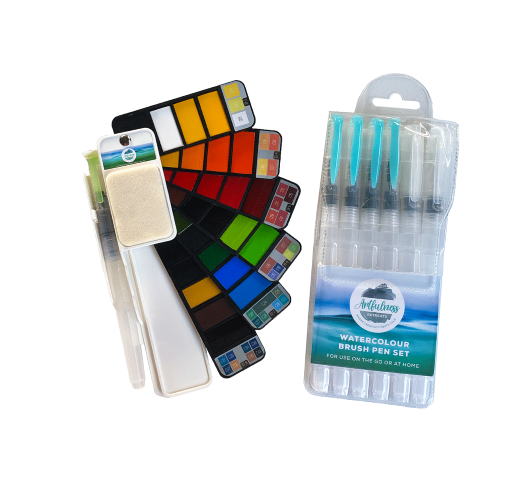 Artfulness Watercolour Palette with Refillable Paintbrush + Artfulness 6-piece Refillable Paintbrush Set COMBO