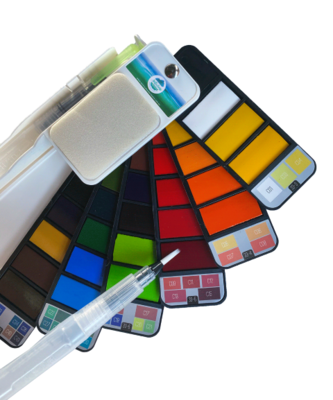 Artfulness Watercolour Palette with Refillable Paintbrush