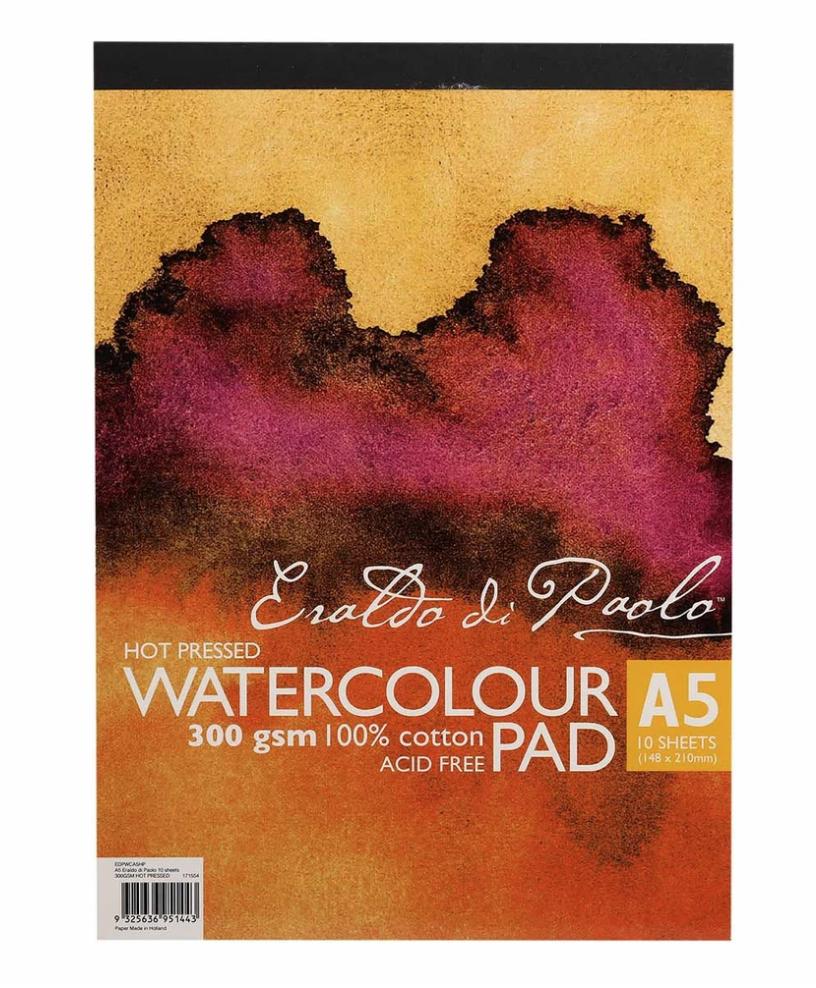 Eraldo Di Paolo A5 Watercolour Pad Hot Pressed 300gsm 10 Sheets