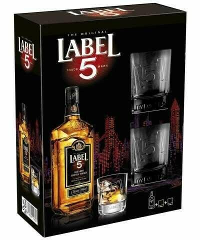 Label 5 Scotch Whisky 40 % 0,7l + 2 pohár