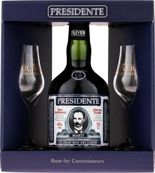 Presidente Marti 19 years 0,7l 40% + 2 pohár