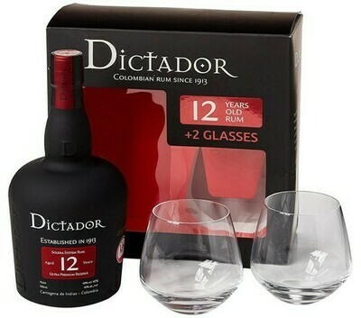 Dictador 12 years 0,7l 40% + 2 pohár