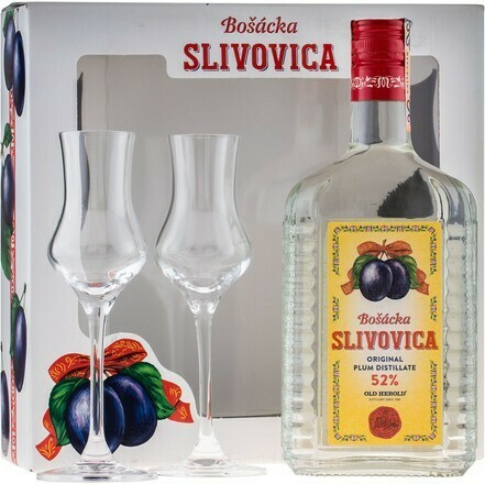 Bošácka Slivovica Hranatá 0,7l 52% + 2 pohár
