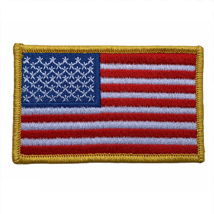 USA Flag Embroidered Iron-On Fabric Patch (Set of 3)