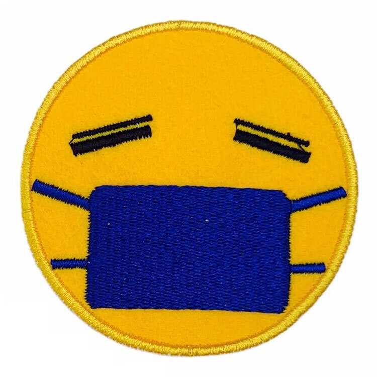 Masked Face Embroidered Badge (Pack of 3 Pcs)