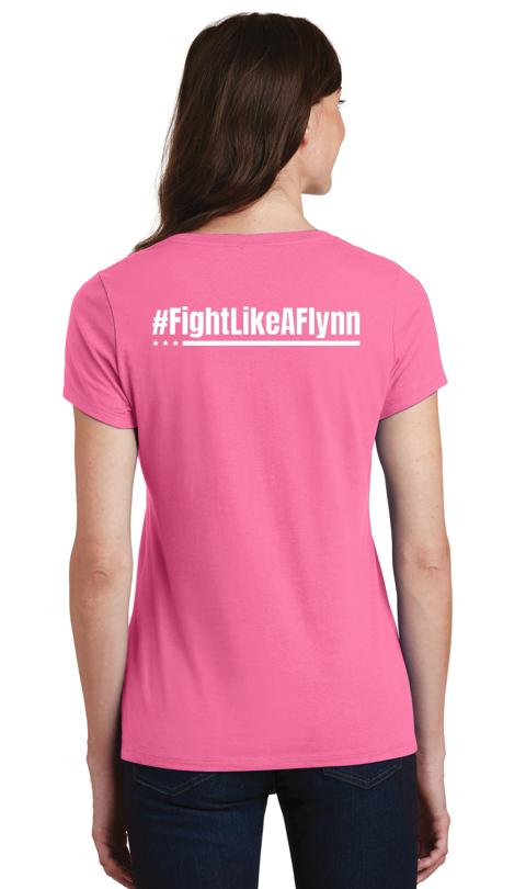 #FightLikeAFlynn Ladies V-neck Tee