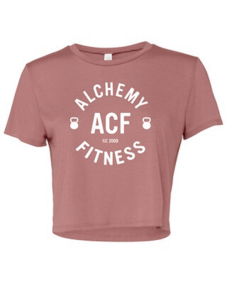 Ladies Flowy Cropped T-Shirt  - Alchemy Fitness Logo