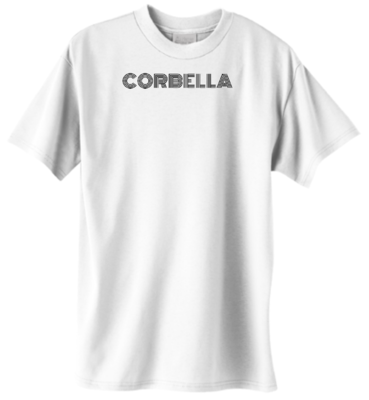 White Corbella Tee (Black Text)