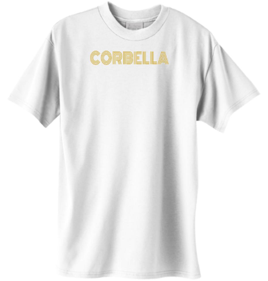 White Corbella Tee (Gold Text)