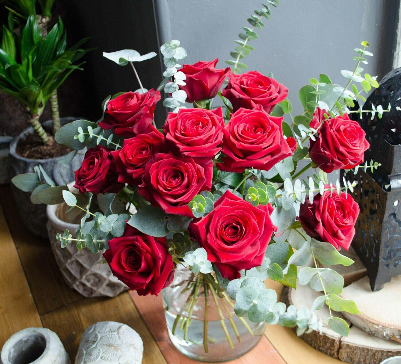 Love in Lockdown- Dozen Red Roses with Vase