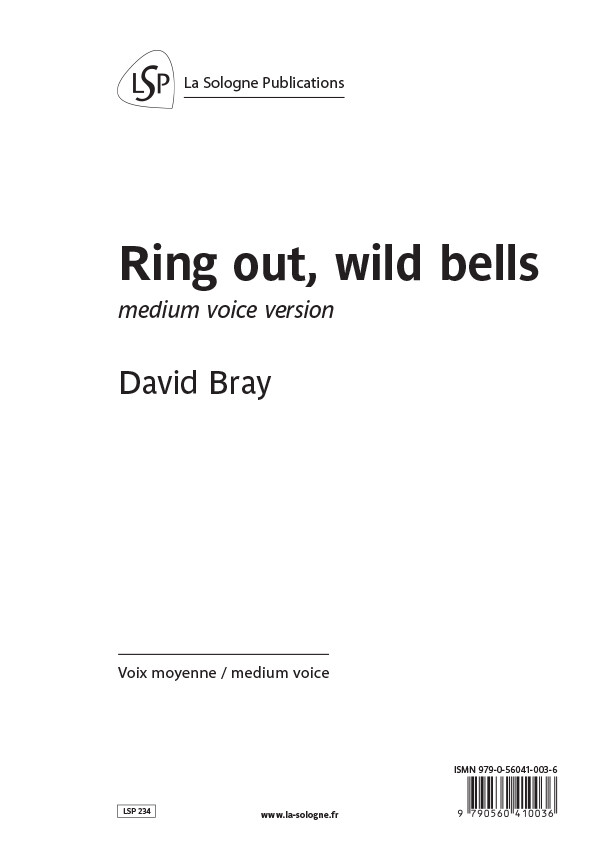 BRAY Ring out, wild bells / medium voice version