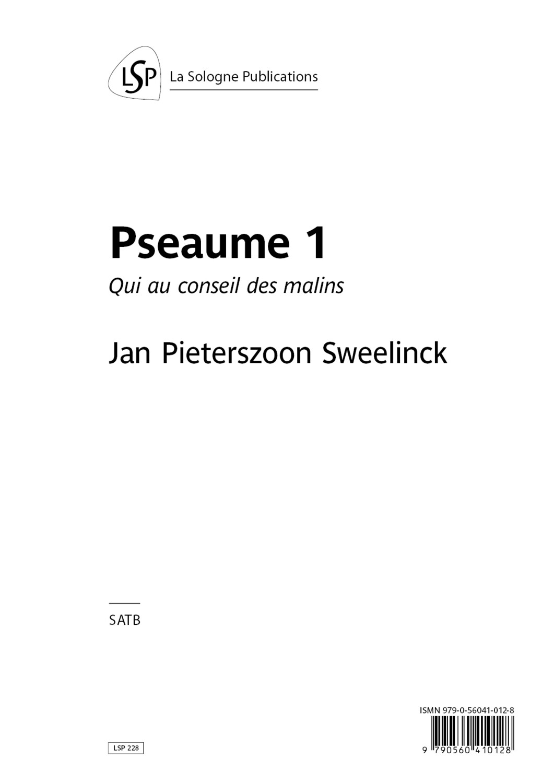 SWEELINCK Pseaume 1 / Qui au conseil des malins / SATB