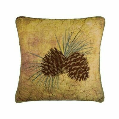 Wood Patch Pinecone Pillow