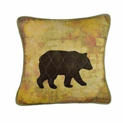 Wood Patch Bear Pillow