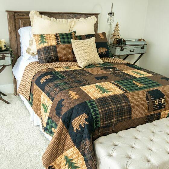 Brown Bear Cabin Twin Bedding Set