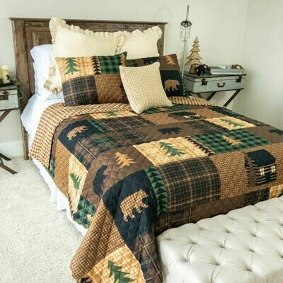 Brown Bear Cabin Twin Bedding Set