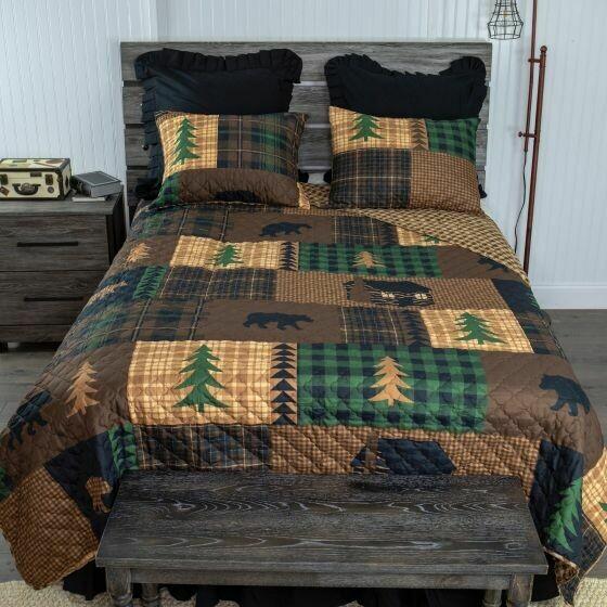 Brown Bear Cabin King Bedding Set