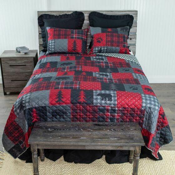 Red Forest King Bedding Set