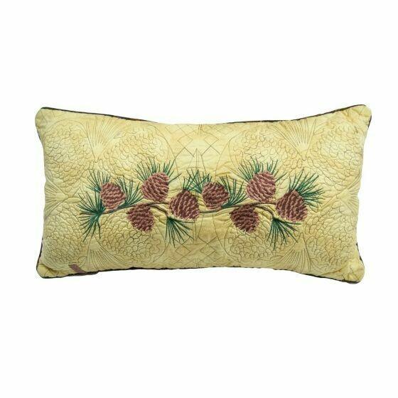 Cabin Raising Pine Cone Rectangle Pillow
