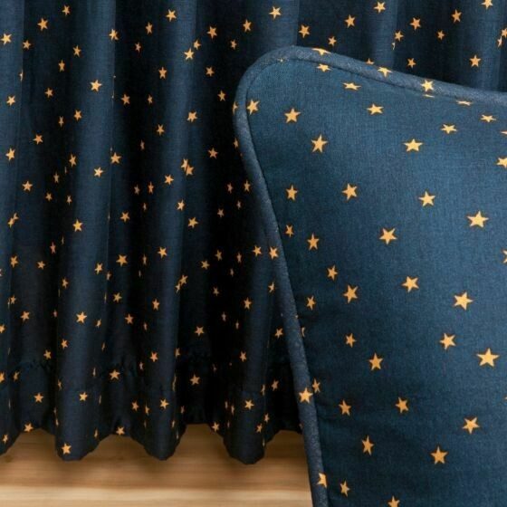 Navy Star Queen Bedskirt
