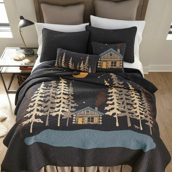 Moonlit Cabin King Quilt