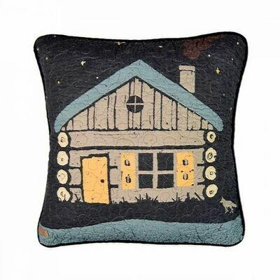 Moonlit Cabin Cabin Pillow