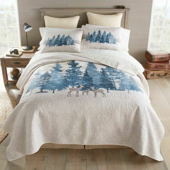 Watercolor Forest King Quilt Set