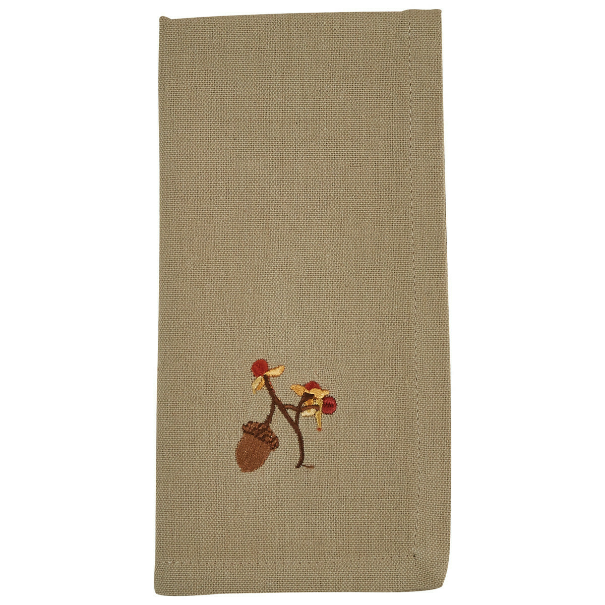 Bittersweet and Acorns Embroidered Napkin
