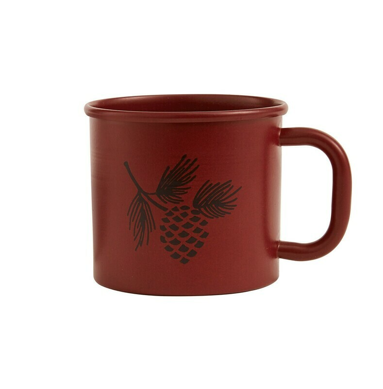 Linville Red Pinecone Enamel Mug