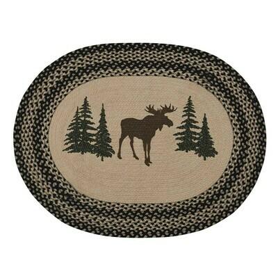 Moose Printed Braided Rug
