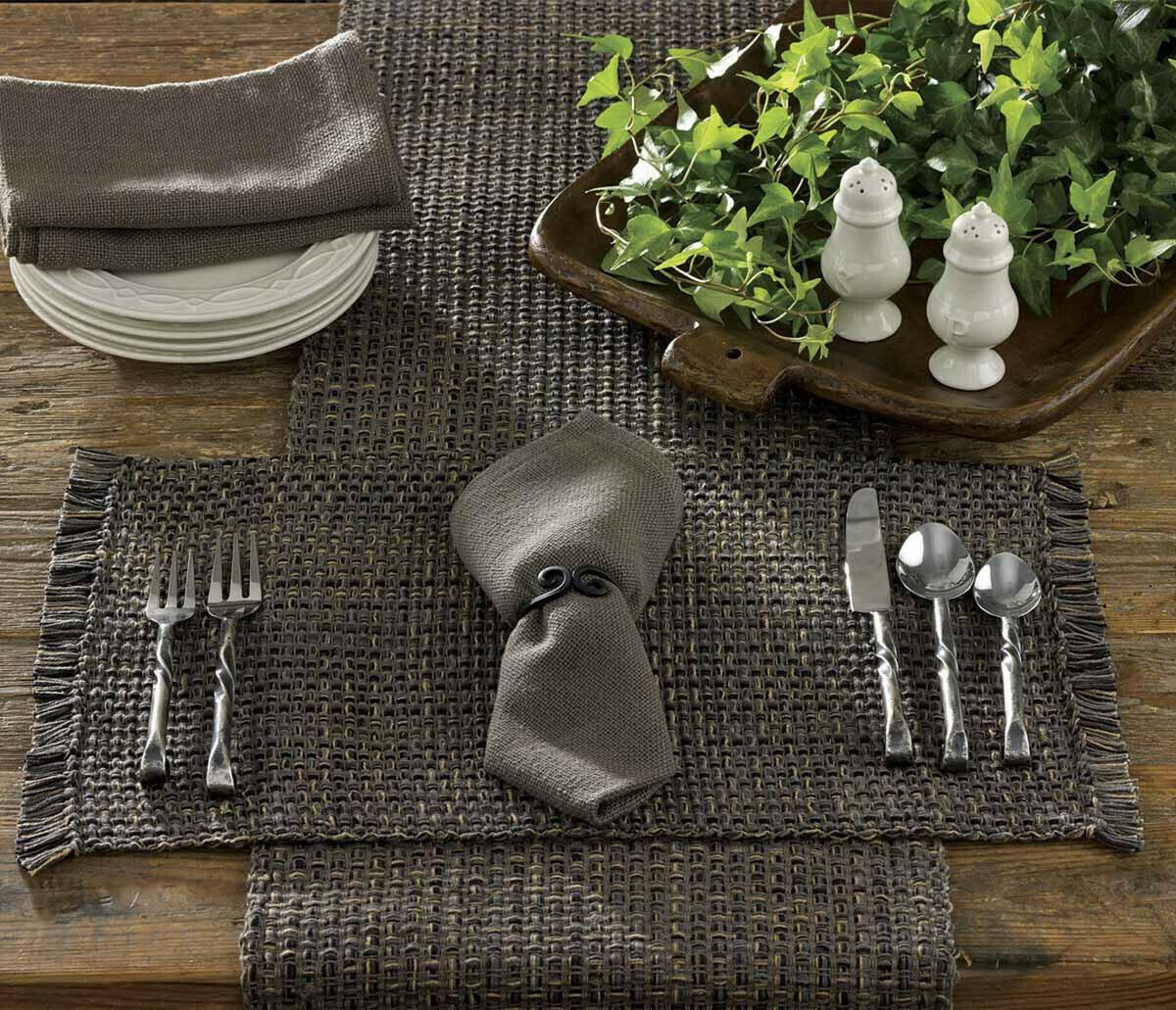 "Tweed Charcoal Table 54"" Runner"