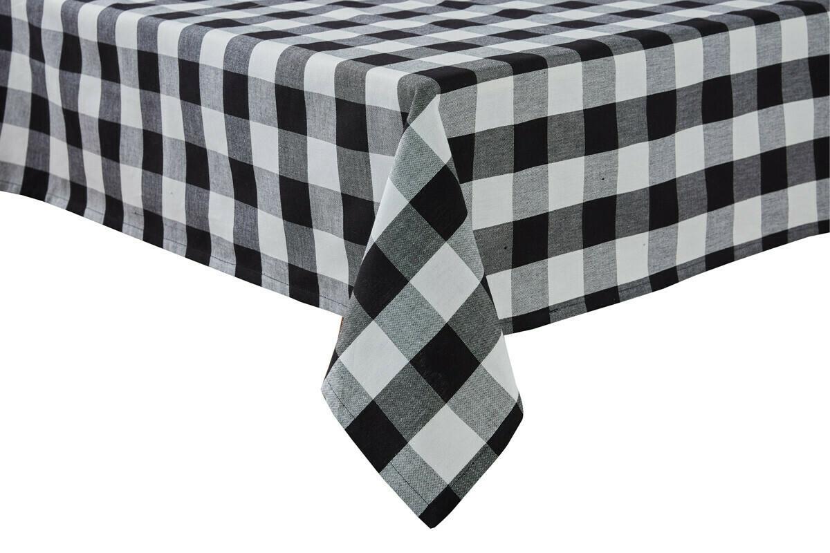"""Wicklow Check Black & Cream Tablecloth 54"""" X 54"""""""