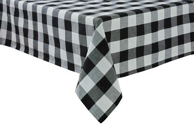 Wicklow Check Black & Cream Tablecloth 54