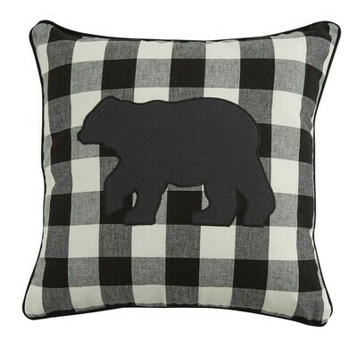 Wicklow Bear Applique Black & Cream 18