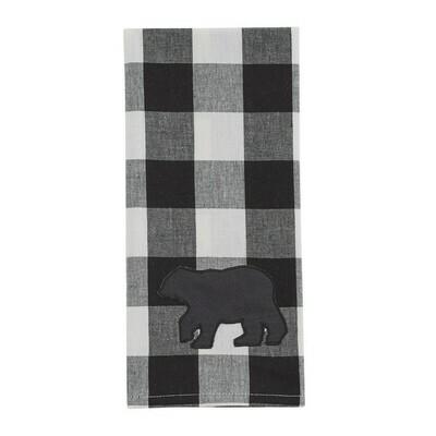 Wicklow Bear Black & Cream Dishtowel