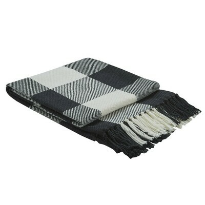 Wicklow Check Black & Cream Throw