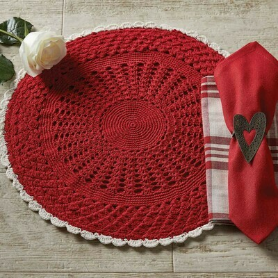 Flora Crochet Red & Cream 15