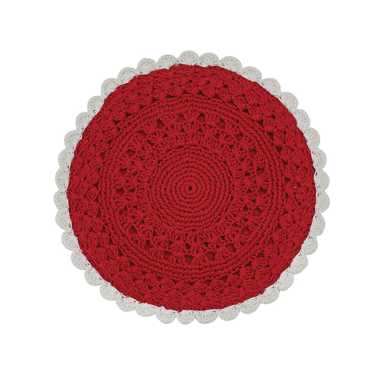 "Flora Crochet Red & Cream 8"" Round Accent Mat"