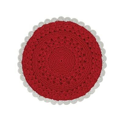 Flora Crochet Red & Cream 8
